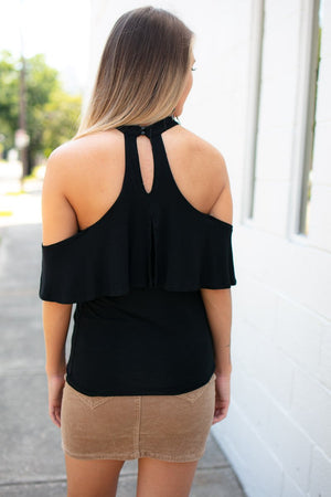 High Neck Ruffle Cold Shoulder Top