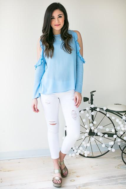 Style Me Pretty Ruffle Cold Shoulder Top - Blue