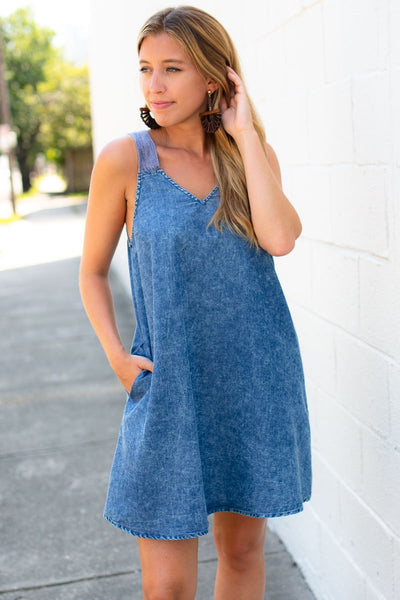 Open Back Dress - Chambray