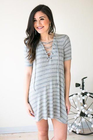 Wide Eyed T-Shirt Dress - Grey
