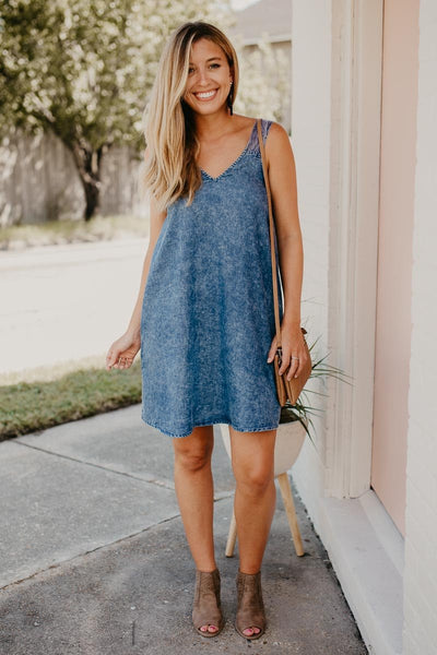 Cha Cha Chambray Open Back Dress