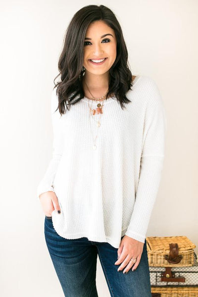 Tops Singing Softly Ivory Waffle Knit Top - Lotus Boutique
