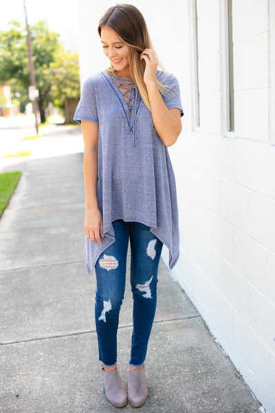 Lace Up Navy Top