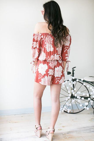 I'm Chic Off The Shoulder Romper - Floral