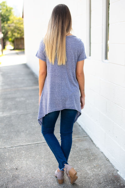 Tops Vintage Soul Navy Lace Up Tee - Lotus Boutique