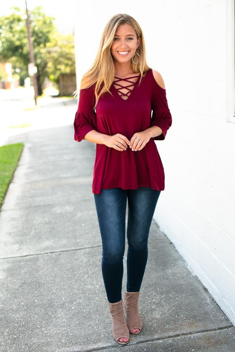 Wine Criss Cross Top