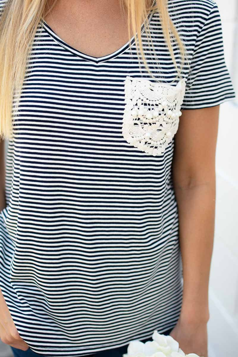 Sweetest Thing Stripe Lace Pocket Tee