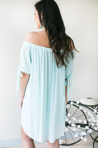This Is Now Off The Shoulder Short Sleeve Dress - Green