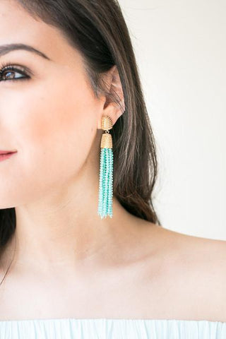 When We Were In Paris Gold Stud With Teal Tassels - Earrings