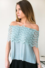 Life With Me Off The Shoulder Lace Top - Mint