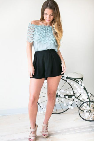 Chronicles Of Her Pleated Front Shorts - Black