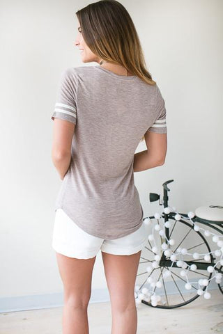 One Of A Kind Stripe Sporty Tee - Taupe