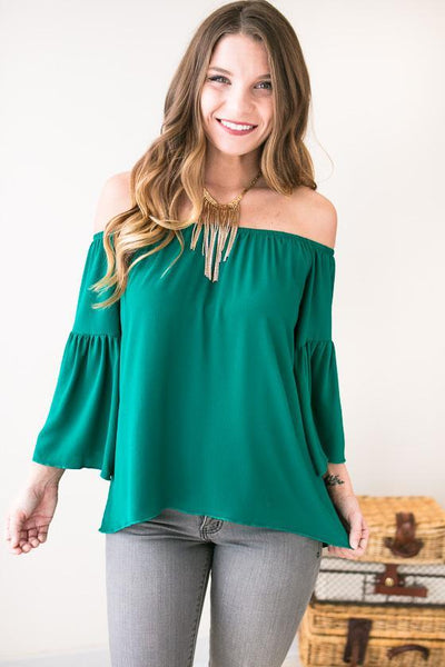 Myth Maker Off Shoulder Top- Hunter Green-Tops-Lotus Boutique-Lotus Boutique