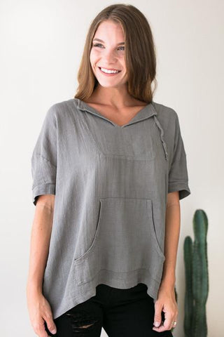 Wherever I Go Olive Linen Hoodie Top