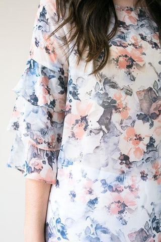 Dreaming Of You Floral Sheer Ruffle Top - White