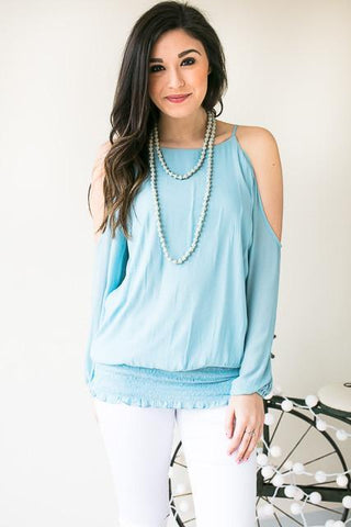 Updated My Status Cold Shoulder Smocked Top - Blue