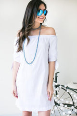 Crisp White Tie Sleeve Off the Shoulder Dress