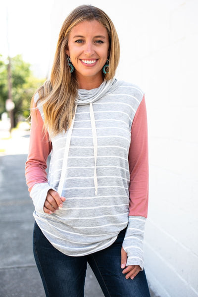 Tops On A Flight Stripe Mock Neck Tunic - Lotus Boutique