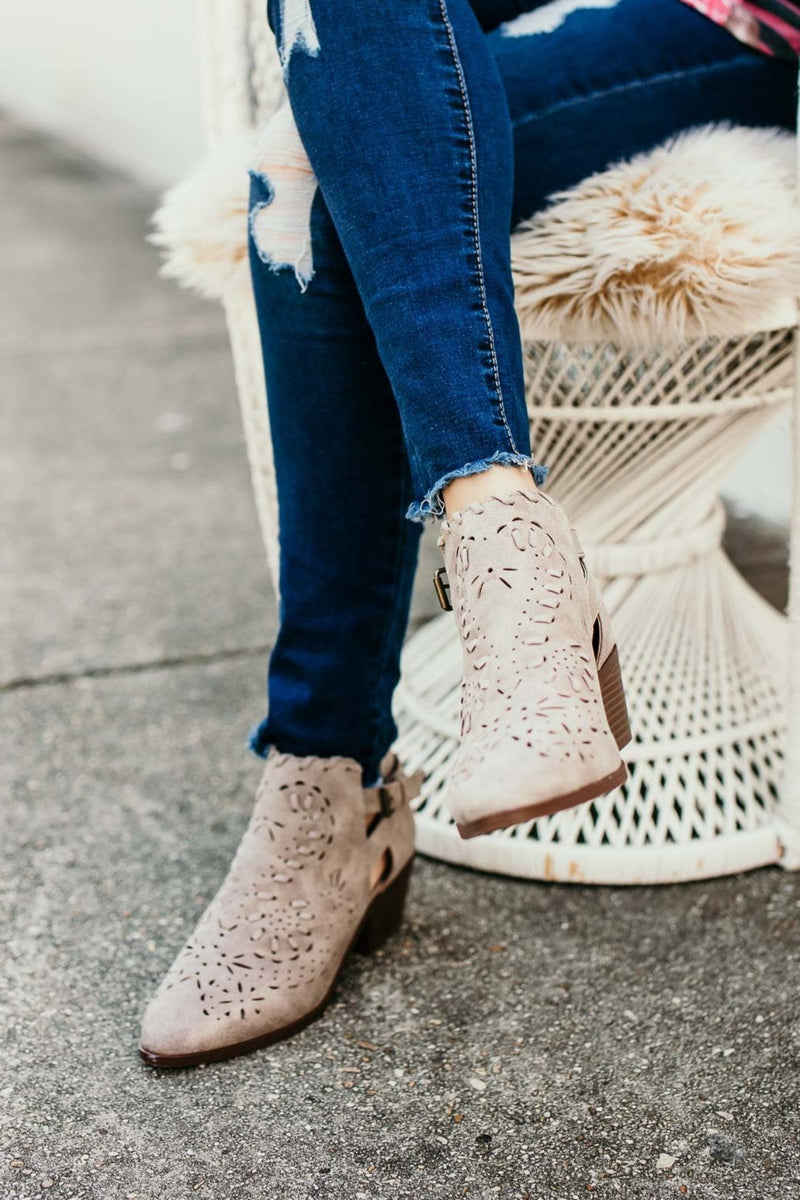 Cut Out Grey Booties