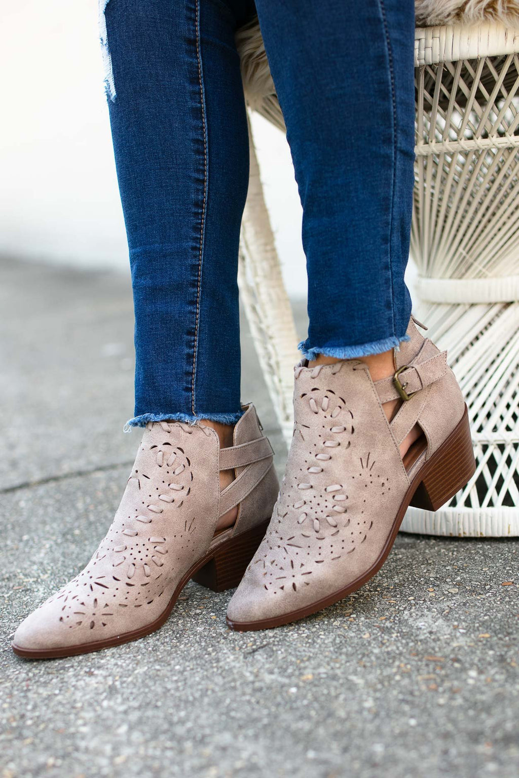 Grey Cut Out Booties