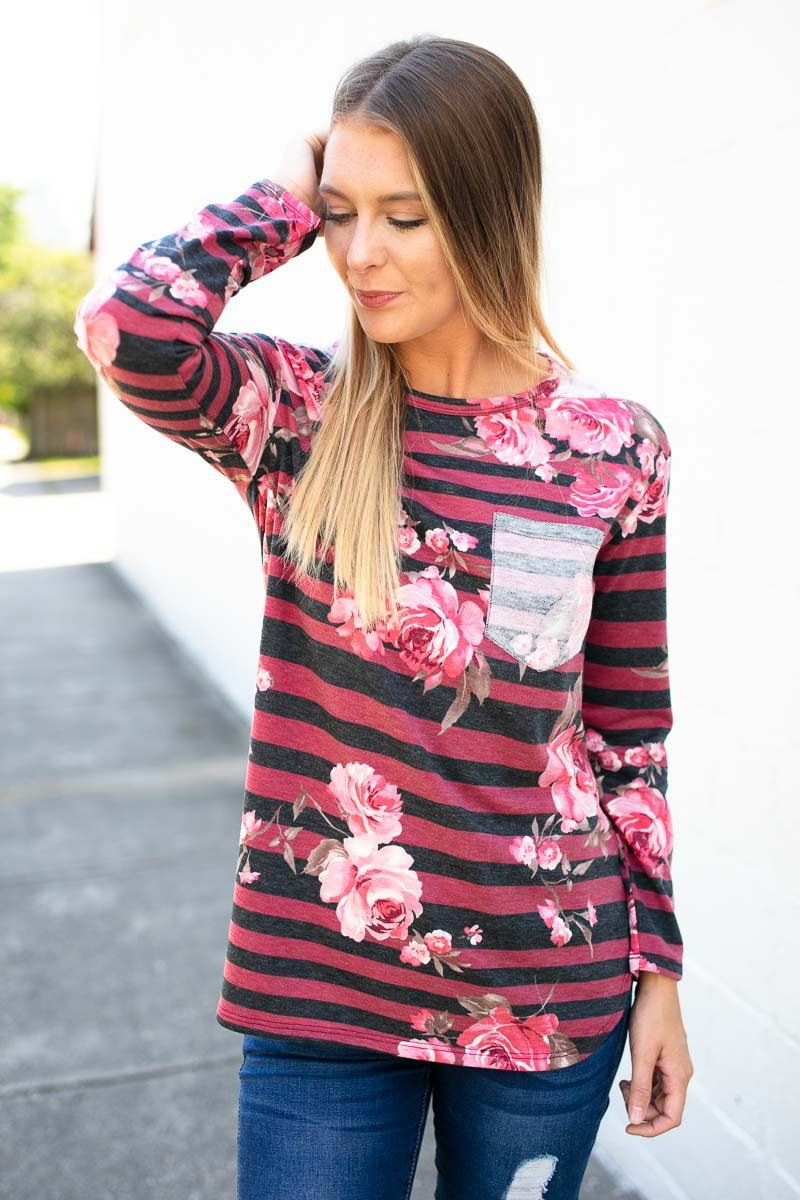 Wine Stripe And Floral Top
