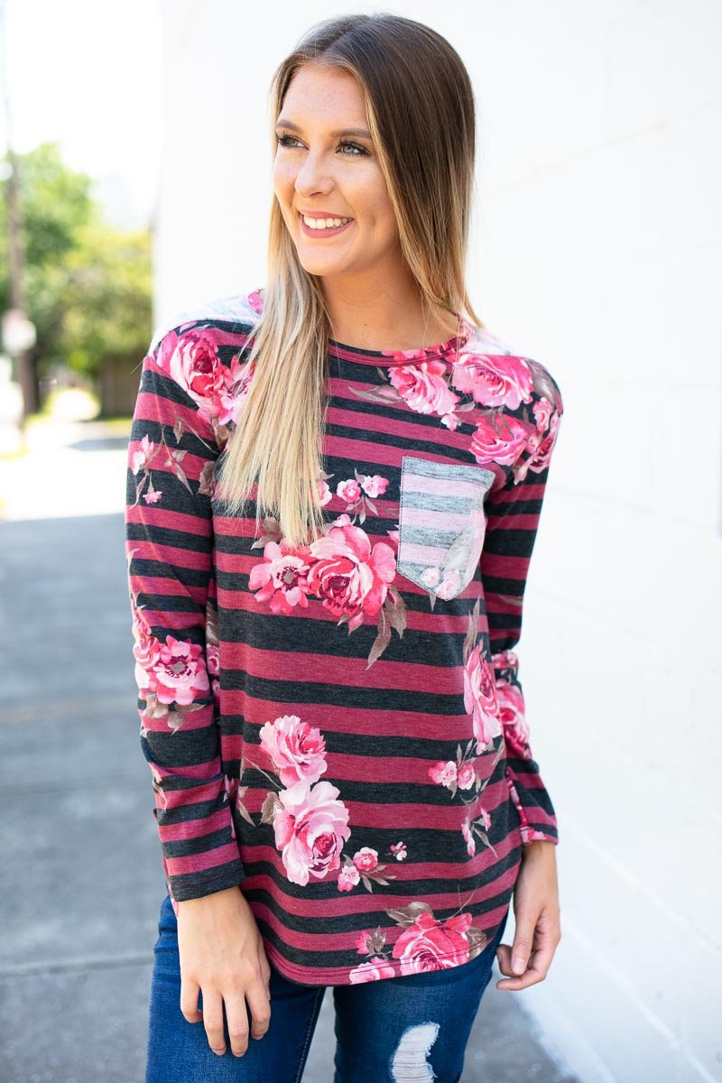 Stripe And Floral Wine Top