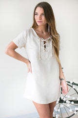 On A Mission Linen Lace Up Dress - Cream