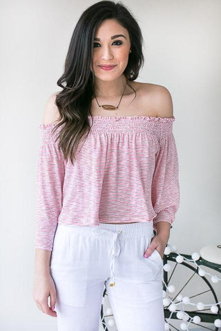 The Fashion Guitar Off Shoulder Top - Red