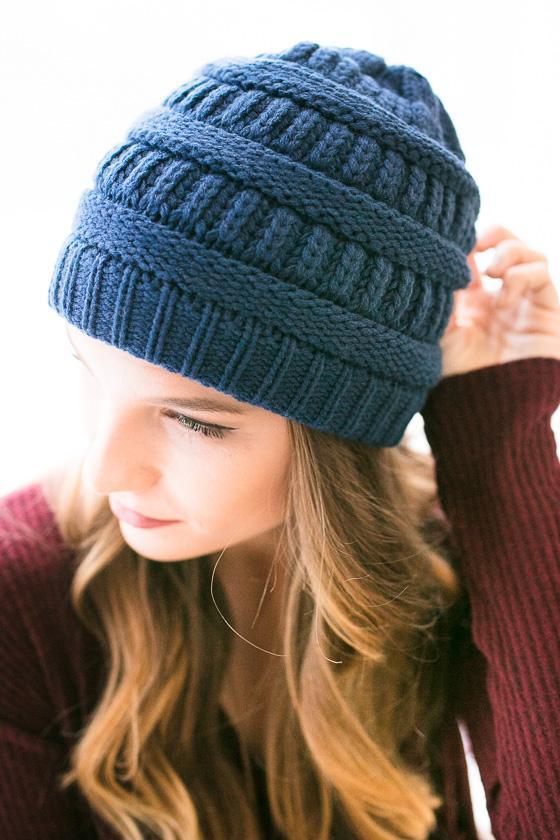 Accessories Fireside Chant Beanie- Navy - Lotus Boutique