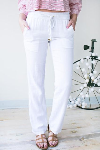 Hello Beautiful Linen Pants With Pockets - White