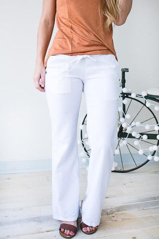 Swoon Worthy Smocked Waist Linen Pants - White