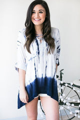 Atlantic Pacific Tie Dye Lace Up Top - Navy