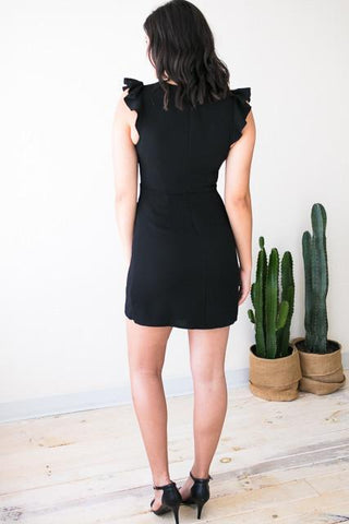 Season Of Fun Flutter Sleeve Black Dress
