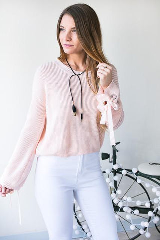 Georgia On My Mind Lace Up Sleeve Sweater - Pink