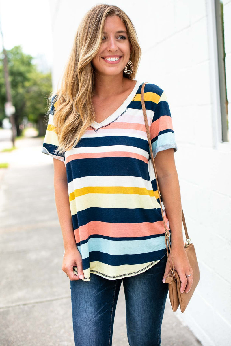 Project Social Multi Colored Striped V Neck Top