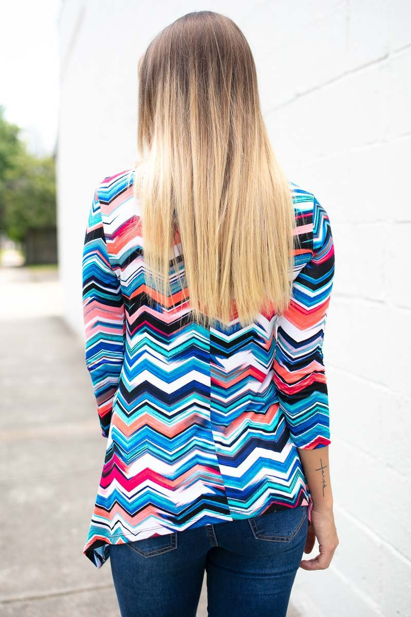 Blue Chevron Print Top