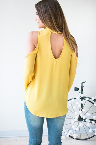 Shinning Mustard Cut Out Top