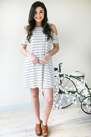 Shore Lines Stripe Cold Shoulder Dress