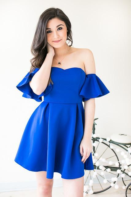 Rhythm And Blues Off Shoulder Fit & Flare Dress - Blue