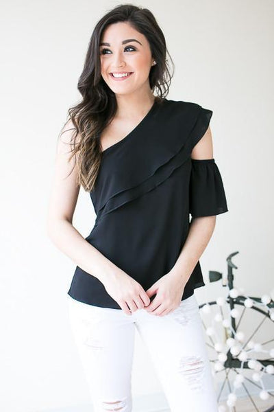Tops Moonlight and Stars One Shoulder Cut Out Top - Black - Lotus Boutique