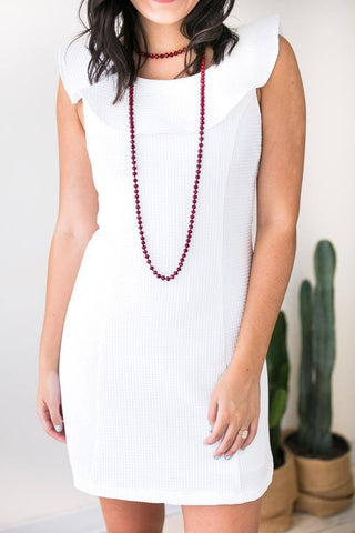 Bright Halo Textured White Dress