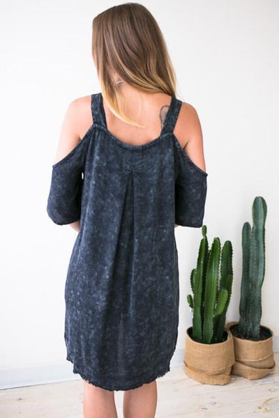 Dresses The Moment Black Cold Shoulder Dress - Lotus Boutique