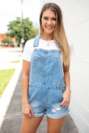 Light Wash Distressed Overalls
