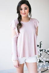 High Profile Ruffle Cold Shoulder Top - Blush