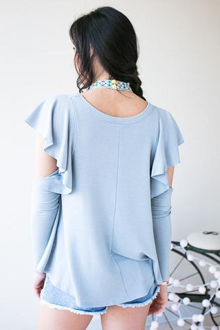 High Profile Ruffle Cold Shoulder Top - Blue