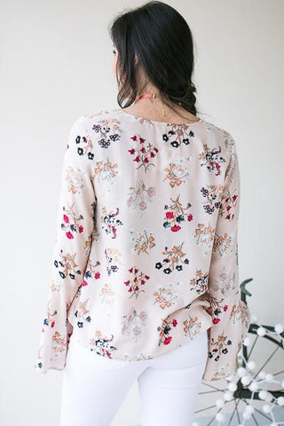 She's Fabulous Floral Lace Up Top - Pink