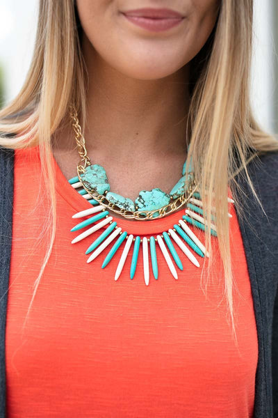 Accessories A Stones Throw Turquoise Statement Necklace - Lotus Boutique