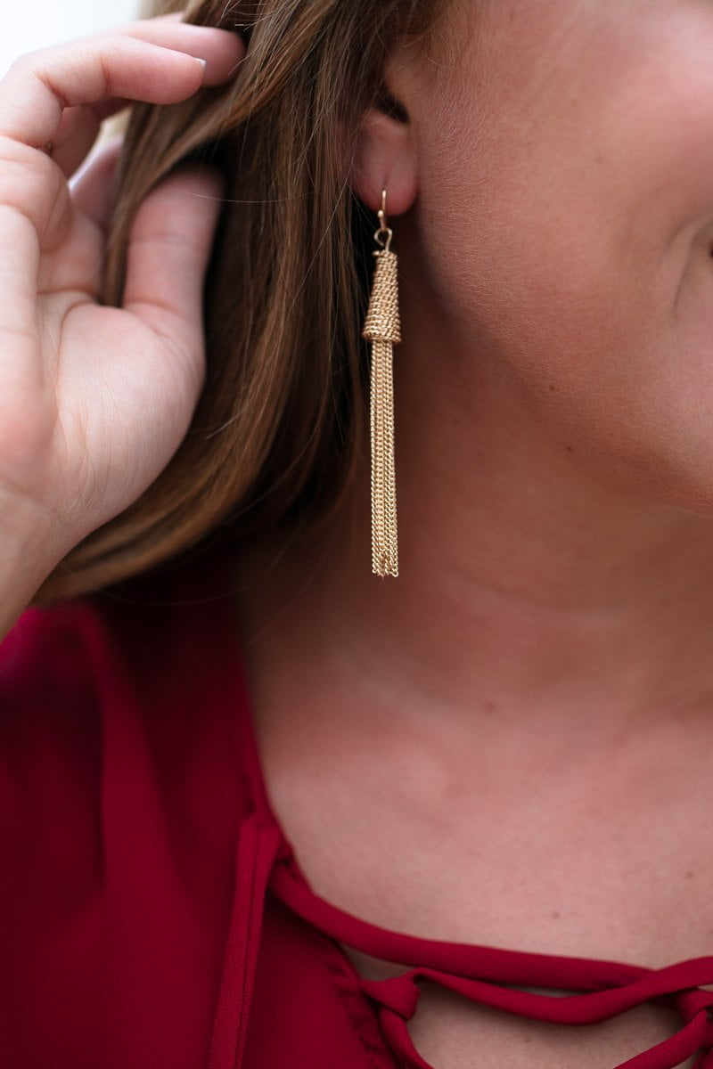 Before You Know It Gold Chain Tassel Earrings