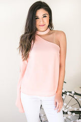 Candle In The Wind One Shoulder Mock Top - Blush