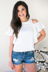 Paparazzi Blur Short Sleeve Ruffle Top - White